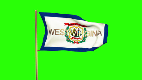 West Virginia flag with title waving in the wind. Looping sun rises style. Anima Animation