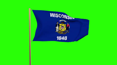 Wisconsin flag waving in the wind. Green screen, alpha matte. Loopable animation Animation