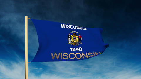 Wisconsin flag slider style with title. Waving in the wind with cloud background Animation