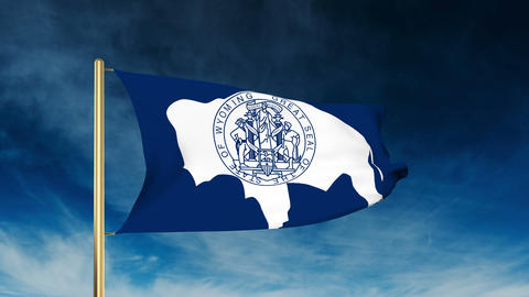 Wyoming flag slider style. Waving in the win with cloud background animation Animation