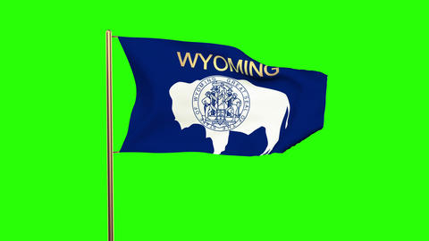 Wyoming flag with title waving in the wind. Looping sun rises style. Animation l Animation