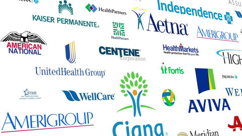 Health Insurance Brands Logo Loop stock footage