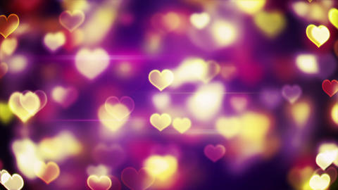 glowing heart shapes bokeh lights loopable background Animation