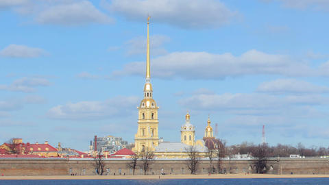 Movement of clouds on the Peter and Paul Fortress in St. Pitersburg, Russia, tim Footage
