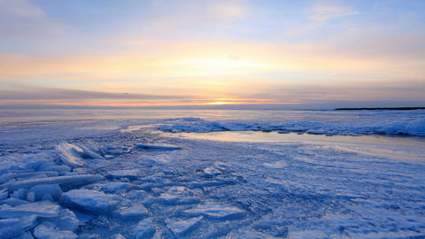 Sunset On The Gulf Of Finland, St. Petersburg, Russia, Timelapse. Full HD stock footage