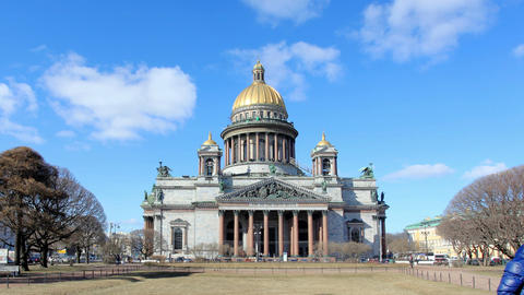 RUSSIA, ST. PETERSBURG - MARCH, 2015: Movement Of Clouds Over St. Isaac's Cathed stock footage