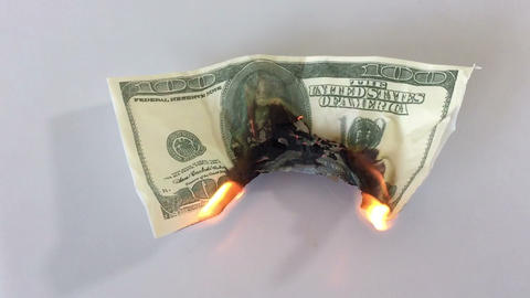 Burning money Footage