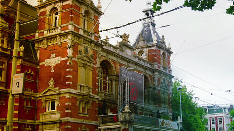 The Stadsschouwburg Theatre,Municipal Theatre, in Amsterdam.time lapse,4k Live Action
