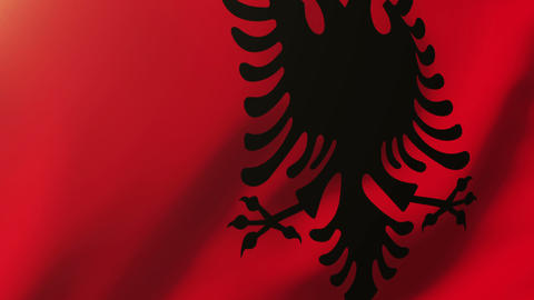 Albania flag waving in the wind. Looping sun rises style. Animation loop Animation