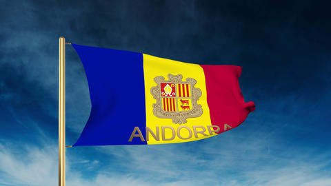 Andorra flag slider style with title. Waving in the wind with cloud background a Animation