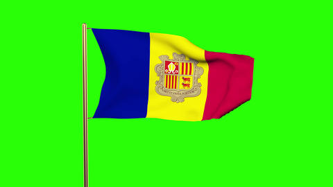 Andorra flag waving in the wind. Green screen, alpha matte. Loopable animation Animation
