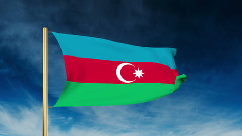 Azerbaijan flag slider style. Waving in the win with cloud background animation Animation