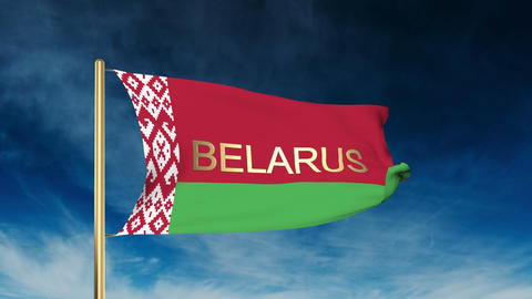 Belarus flag slider style with title. Waving in the wind with cloud background a Animation