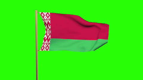 Belarus flag waving in the wind. Green screen, alpha matte. Loopable animation Animation