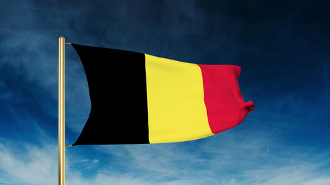 Belgium flag slider style. Waving in the win with cloud background animation Animation
