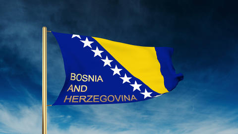 Bosnia and Herzegovina flag slider style with title. Waving in the wind with clo Animation