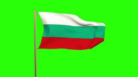 Bulgaria Flag Waving In The Wind. Green Screen, Alpha Matte. Loopable Animation stock footage