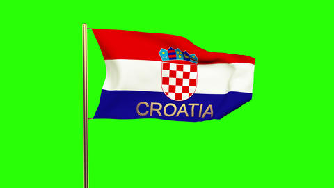 Croatia flag with title waving in the wind. Looping sun rises style. Animation l Animation