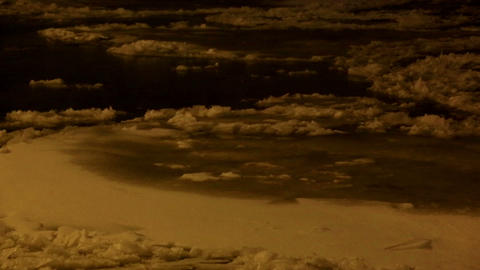 Ice drift on the river Neva, night in St. Petersburg, Russia. Full HD Footage