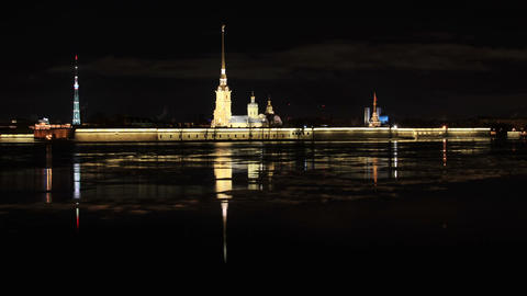 Night view of the Peter and Paul Fortress, St. Petersburg, Russia. Full HD Footage