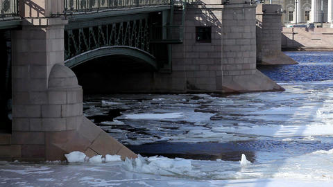 Breaking of the ice on the river Neva in St. Petersburg, Russia. Full HD Footage