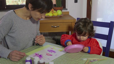 Home Fun With Happy Mom And Daughter Playing And Painting Footage