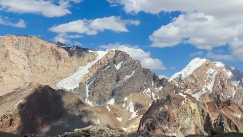 Clouds over the mountains. Pamir, Tajikistan. TimeLapse Footage
