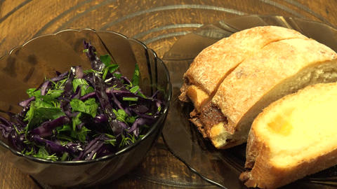 Healthy Sandwich Cheese Bread with Salad. 4K UltraHD, UHD Footage