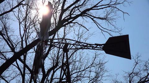 Wind Turbine Silhouetted by the Sun in Blue Sky. 4K UltraHD, UHD Footage