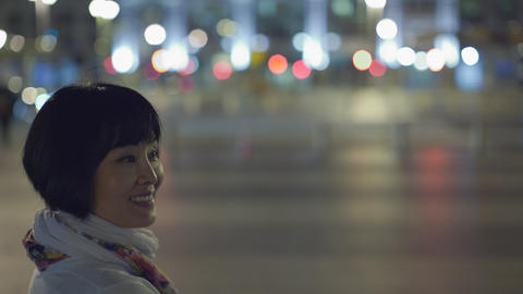 Attractive Asian Woman In San Francisco At Night stock footage