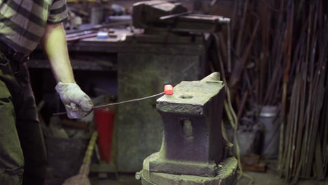 Smith Forging Red Hot Iron stock footage