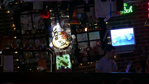 Bar With The Bartender stock footage