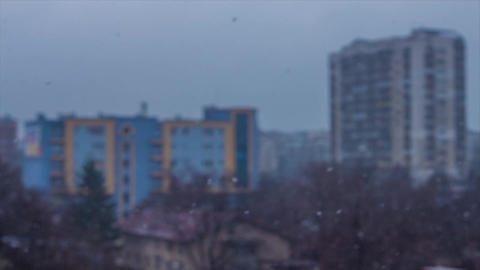 Snow in the City Stock Video Footage