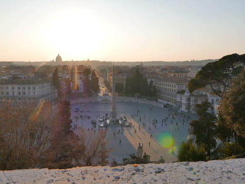 Piazza del Popolo at sunset. Rome, Italy. 640x480 Stock Video Footage