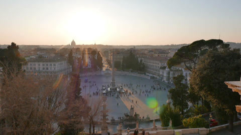 Piazza del Popolo at sunset. Panorama. Rome, Italy. 1280x720 Stock Video Footage