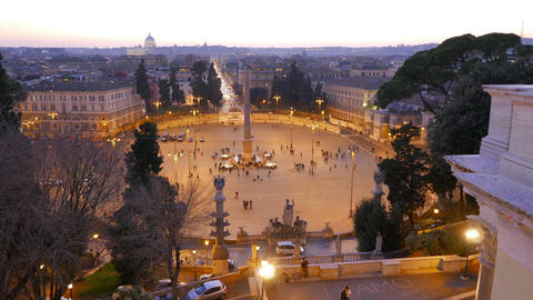 Piazza del Popolo at sunset. Twilight. Rome, Italy Footage