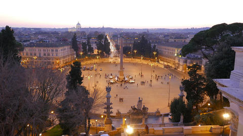 Piazza del Popolo at sunset. Twilight. Rome, Italy Stock Video Footage