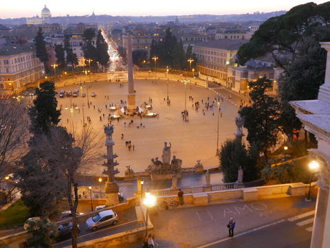Piazza del Popolo at sunset. Twilight. Rome, Italy. 640x480 Stock Video Footage