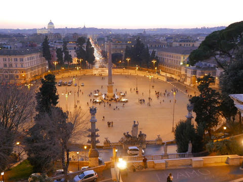 Piazza del Popolo at sunset. Twilight. Rome, Italy. 640x480 Footage