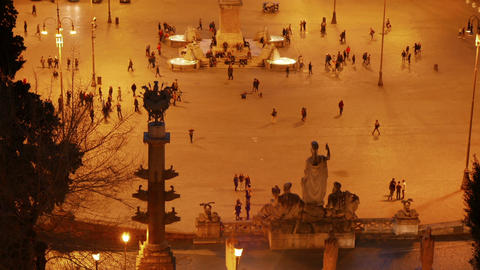 Piazza del Popolo after sunset. Rome, Italy. 1280x720 Stock Video Footage