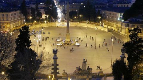Piazza del Popolo. Night falls. Rome, Italy Stock Video Footage