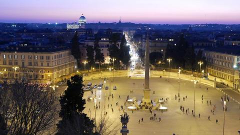 Piazza del Popolo. Night falls. Rome, Italy. 1280x720 Stock Video Footage