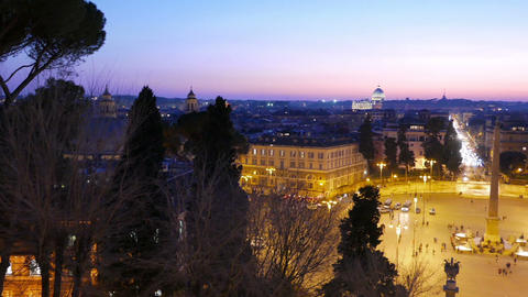 Piazza del Popolo. Evening, Panorama. Rome, Italy. 1280x720 Stock Video Footage