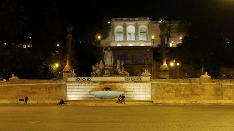 Fontana della Dea di Roma. Piazza del Popolo, Rome, Italy Footage