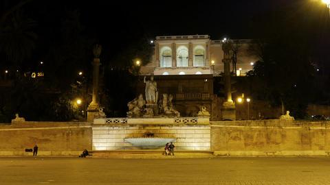 Fontana della Dea di Roma. Piazza del Popolo, Rome, Italy Stock Video Footage