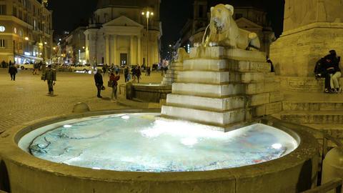 Piazza del Popolo. Central fountain. Rome, Italy -... Stock Video Footage