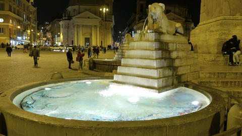Piazza del Popolo. Central fountain. Rome, Italy -... Stock Video Footage