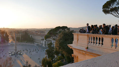 People look at the area. Piazza del Popolo, Rome, Italy -... Stock Video Footage