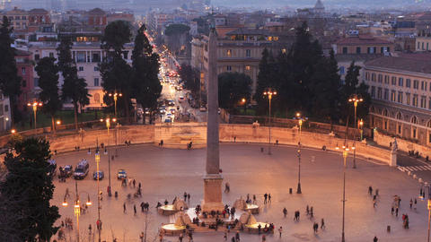 Piazza del Popolo. Egyptian obelisk. Time Lapse. Rome,... Stock Video Footage