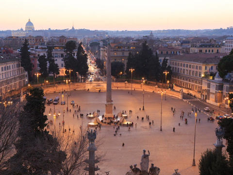 Piazza del Popolo. Time Lapse. Rome, Italy. 640x480 Footage